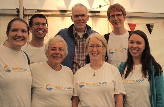 "Operation Noah volunteers in ""Bright Now"" T-shirts with Bill McKibben."