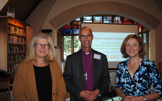 Bishop Richard Cheetham with Pilita Clark from the Financial Times and Sian Ferguson from The Climate Change Collaboration (credit: Operation Noah)