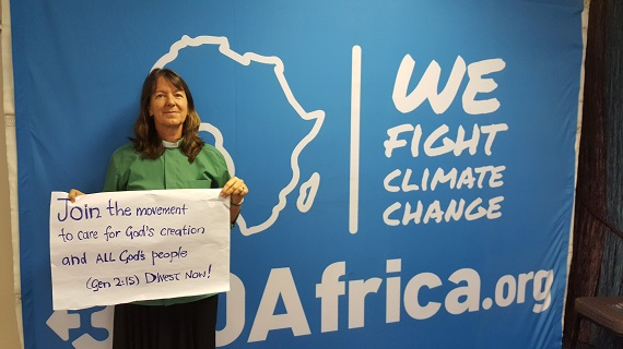 The Revd Dr Rachel Mash, environmental coordinator for the Anglican Church of Southern Africa, supporting the climate change divestment campaign