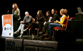 Speaker panel at the Fossil Free Tour (Operation Noah board member Sunniva Taylor on the right).